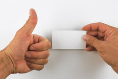 Hand hold business cards  on white background Royalty Free Stock Images
