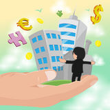 Hand Hold Business Man Success Work Vector. Hand Hold Business Man Success Work Royalty Free Stock Images