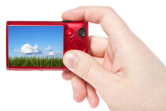 Hand hold camera with  picture of nature Royalty Free Stock Images