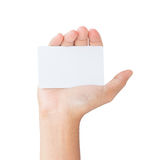 Hand hold card isolated clipping path inside Stock Photography