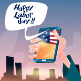 Hand Hold Cell Smart Phone American Labor Day USA Holiday Royalty Free Stock Image