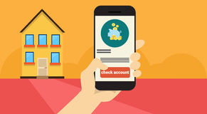 Hand Hold Cell Smart Phone Application Online Banking Payment Banner. Flat Vector Illustration Royalty Free Stock Photo