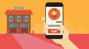 Hand Hold Cell Smart Phone Application Online Fireman Call Banner Stock Photography