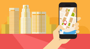 Hand Hold Cell Smart Phone Application Online Gps Navigation Banner Stock Photos