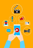 Hand Hold Cell Smart Phone Video Blog Concept Royalty Free Stock Image