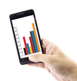 Hand hold checking financial charts and statistics on mobile Stock Images