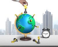 Hand hold chess on 3d map globe with clock Royalty Free Stock Photography
