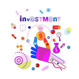Hand Hold Coin Business Idea Investment Concept Banner. Vector Illustration Royalty Free Stock Photography