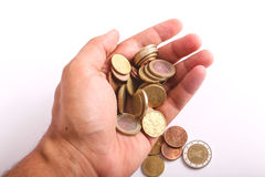 Hand hold coins Euros Stock Photo