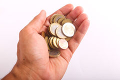 Hand hold coins Euros Royalty Free Stock Photos