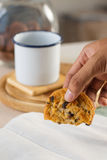 Hand hold cookie Royalty Free Stock Image