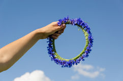 Hand hold cornflower crown in blue sky background Stock Photos