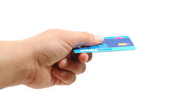 Hand hold a credit card. Hand hold a blue credit card Royalty Free Stock Photography