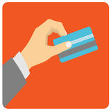Hand hold credit card to pay. Royalty Free Stock Image