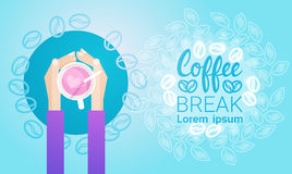 Hand Hold Cup Tea Coffee Break Morning Beverage Banner. Flat Vector Illustration Stock Photos