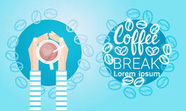 Hand Hold Cup Tea Coffee Break Morning Beverage Banner. Flat Vector Illustration Stock Images