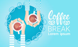 Hand Hold Cup Tea Coffee Break Morning Beverage Banner. Flat Vector Illustration Royalty Free Stock Photo