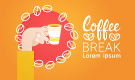 Hand Hold Cup Tea Coffee Break Morning Beverage Banner. Flat Vector Illustration Royalty Free Stock Image