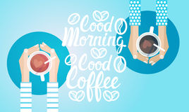 Hand Hold Cup Tea Coffee Break Morning Beverage Banner. Flat Vector Illustration Stock Photo