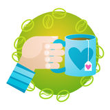 Hand Hold Cup Tea Coffee Break Morning Beverage. Flat Vector Illustration Stock Photo