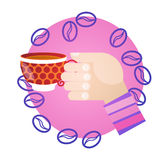 Hand Hold Cup Tea Coffee Break Morning Beverage. Flat Vector Illustration Stock Images