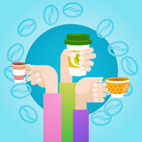 Hand Hold Cup Tea Coffee Break Morning Beverage. Flat Vector Illustration Royalty Free Stock Photography