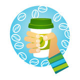 Hand Hold Cup Tea Coffee Break Morning Beverage. Flat Vector Illustration Stock Photography