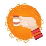 Hand Hold Cup Tea Coffee Break Morning Beverage. Flat Vector Illustration Stock Photos