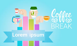 Hand Hold Cup Tea Coffee Break Morning Beverage. Flat Vector Illustration Royalty Free Stock Images