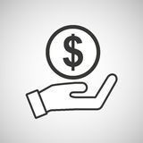 Hand hold currency coin dollar Stock Photography