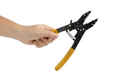 Hand hold cutting pliers Royalty Free Stock Image