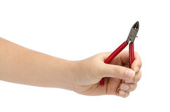 Hand hold cutting pliers Royalty Free Stock Photos