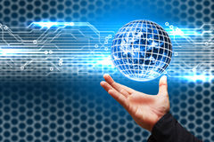 Hand Hold the digital world. Smart hand Hold the digital world Royalty Free Stock Photography