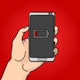 Hand hold discharged phone pop art vector Stock Photos