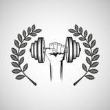 Hand hold dumb bell sport emblem laurel branch. Vector illustration eps 10 Stock Photo