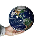 Hand hold the earth ,including elements furnished by NASA Royalty Free Stock Photo