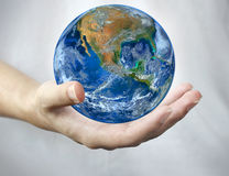 Hand hold earth. Stock Image