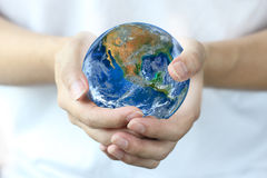 Hand hold earth., Planet world. Elements of this image furnished Stock Image
