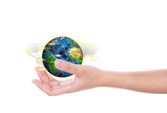 Hand hold earth of social network (Elements of this image furnis Stock Photos