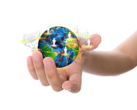 Hand hold earth of social network Stock Photo