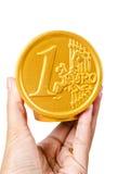 Hand hold Euro coin safe money box. Royalty Free Stock Photos