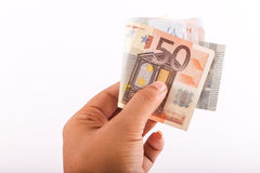 Hand hold Euros Stock Photography