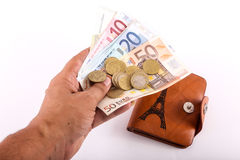 Hand hold Euros Stock Image