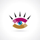 Hand hold Eye icon  Stock Photography