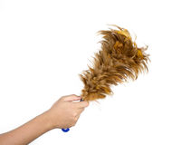 Hand hold feather broom isolated on white background Royalty Free Stock Image