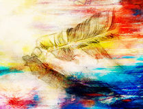 Hand hold a feather quill pen on the letter and envelope, pencil sketch on paper. Royalty Free Stock Images