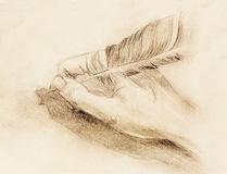 Hand hold a feather quill pen on the letter and envelope, pencil sketch on paper,  vintage effect. Royalty Free Stock Image