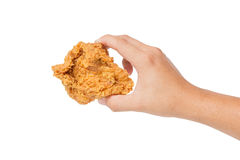 Hand hold fried chest chicken isolated on white Stock Image