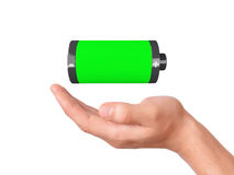 Hand hold full battery 3d icon. Image of hand holding full battery 3d icon on white background Royalty Free Stock Photos