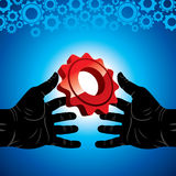 Hand hold gear Royalty Free Stock Images